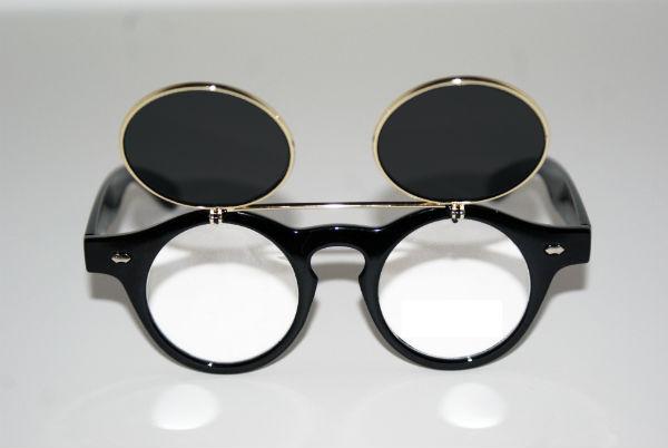 Circle Flip Up Sunglasses  vintage retro steampunk sunglasses round circle flip up black